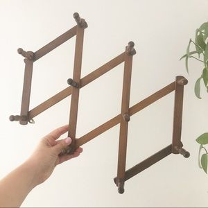 Vintage Wooden Accordion Wall Rack Boho Decor